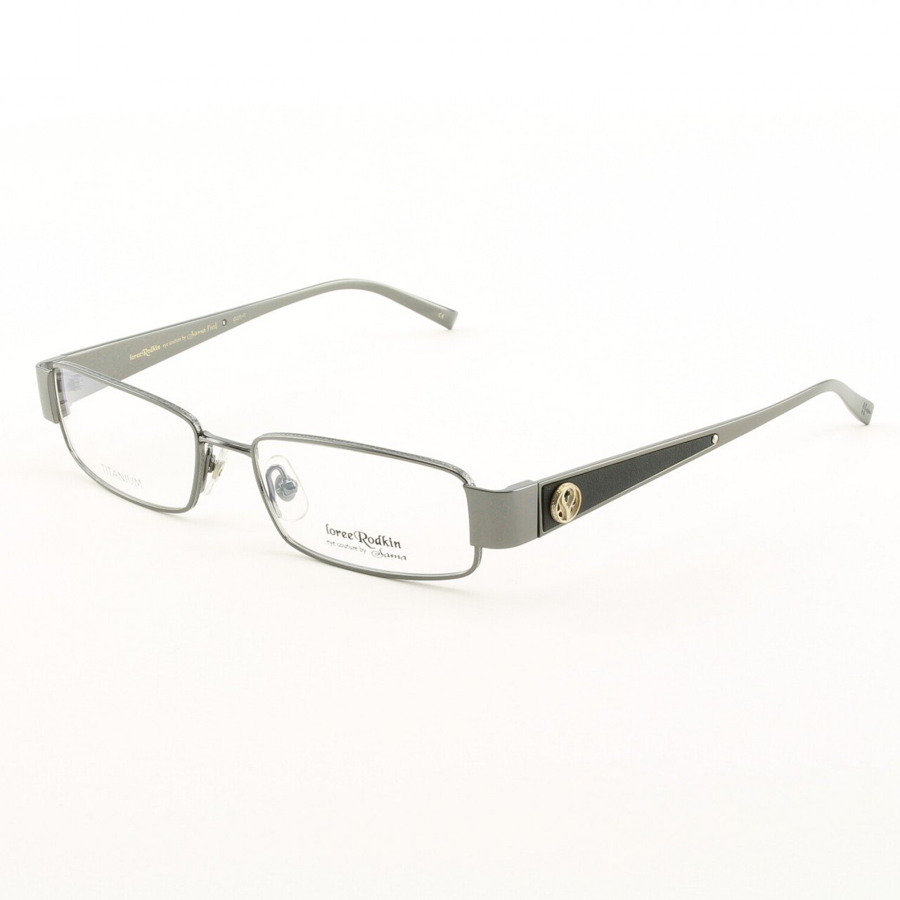 Loree Rodkin Fred Eyeglasses by Sama Col. Gun Metal with Clear Lenses, Leather and Sterling Silver