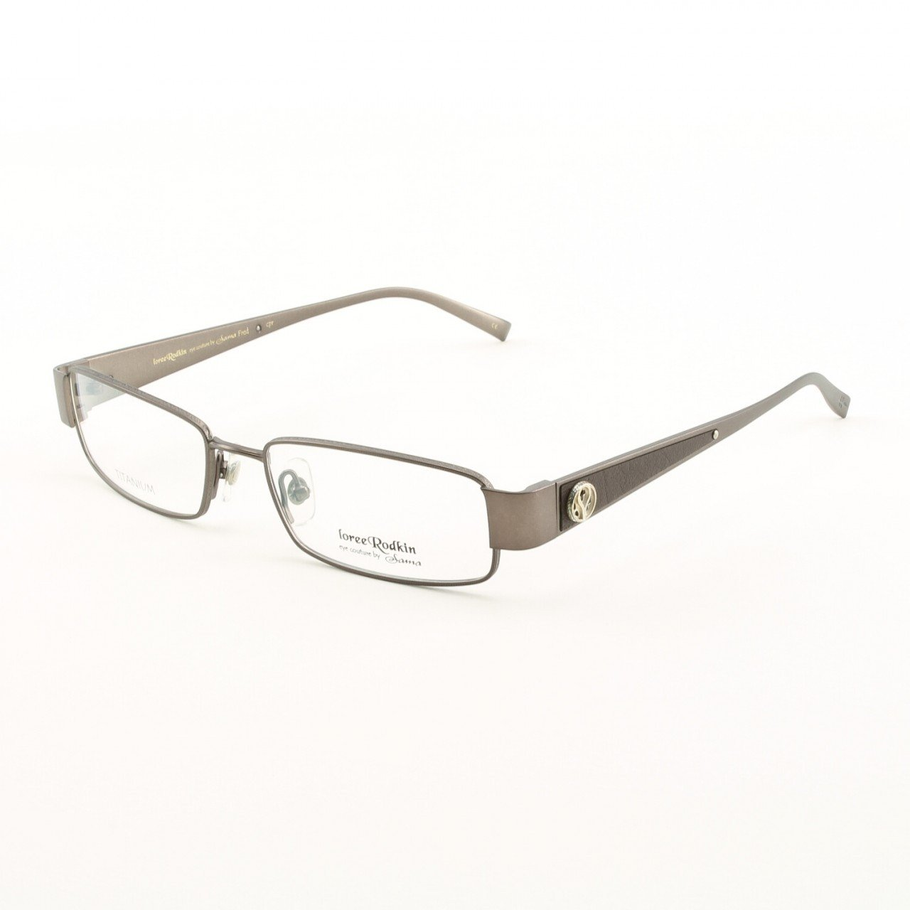 Loree Rodkin Fred Eyeglasses by Sama Col. Copper with Clear Lenses, Leather and Sterling Silver