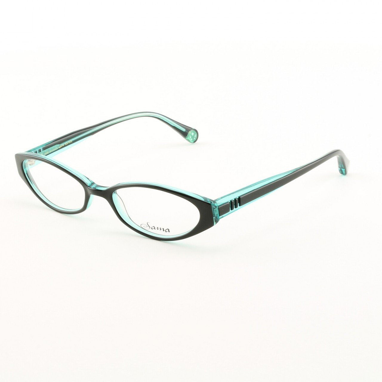 Loree Rodkin Demi Eyeglasses by Sama Col. Black and Teal with Clear Lenses