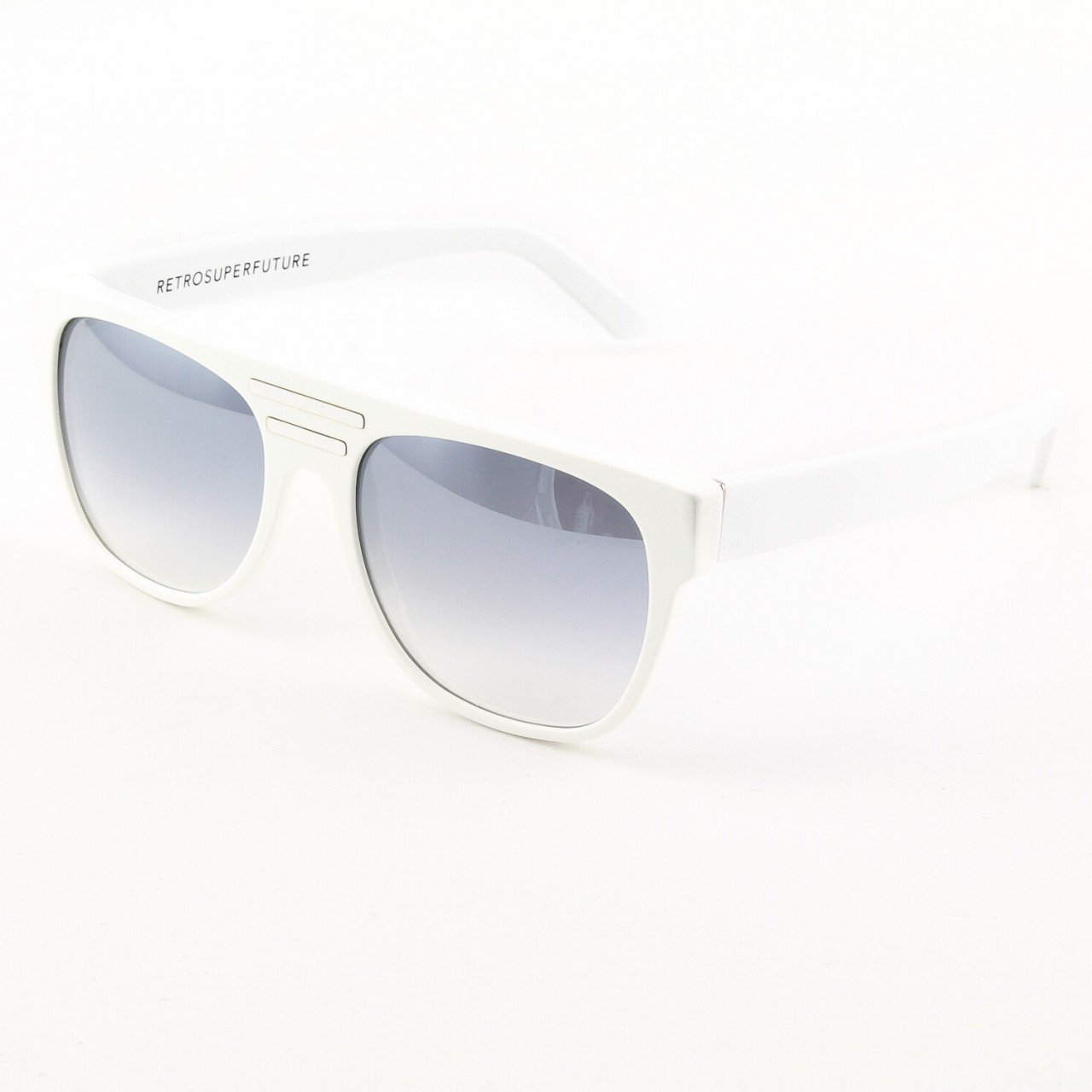 Super Topski 211 Sunglasses White with White Detachable Leather Sides  by RETROSUPERFUTURE