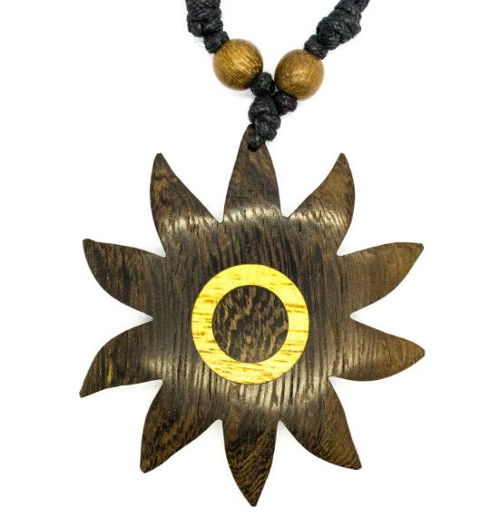 Bali Sun Pendant - Sun Shaped wood pendant Necklace!
