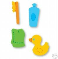 Doll Bath Accessories, tooth brush, rubber duck, towel, bottle Medium Yellow Sizzix