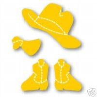 Doll Cowboy Set #1, Hat, kerchief, boots, Medium Yellow Sizzix