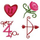 Valentine Set, rose, heart, bow, arrow, phrase, crazy 4 you, Sizzix Sizzlit #654748