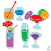 Drinks set of 4 different  die cuts Ellision Sizzix Sizzlit