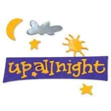phrase  Up All Night  moon star sun clouds die cuts  Sizzix Sizzlit