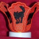 Tea Light Candle Shade Black Cat Machine Embroidery Designs