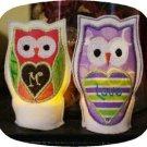 Heart Owl Tea Light Covers Machine Embroidery Designs