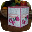 FSL Breast Cancer Rose Cup Tissue Box Cover 5x7 Machine Embroidery Designs