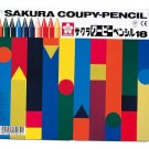 Pastel Crayon: SAKURA COUPY-PENCIL 18 colors colored pencil Can case FY18
