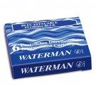 Waterman - 6 Mini Washable Florida Blue Ink Cartridges in Carton Box.