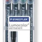 Staedtler - 317WP4 Fiber Tip Pens/ Permanent/ Medium Point/ 4/ST/ Assorted