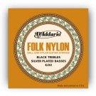 DAddario EJ32 Folk Nylon Guitar Strings Ball End Silver Wound/Black Nylon