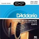 DAddario EXP11 Coated Acoustic Guitar Strings 80/20 Light 12-53