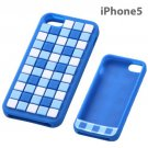 Ray Out - Geometric Design Silicone iPhone 5 Case (Check/Blue)