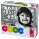 Maxell music CD-R 80 minute mix color 10 pieces 5mm case case CDRA80MIX.S1P10S