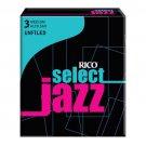 Rico DAddario Select Jazz Alto Sax Reeds Unfiled Strength 3 Strength Medium 10pc