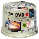 TDK DVD-R Digital Broadcast 1-16 x Ink Jet Printer 50-Disc DR120DPWC50PUE