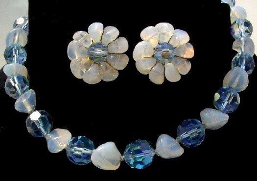 GORGEOUS Vintage LES BERNARD Blue CRYSTAL SATIN GLASS Demi