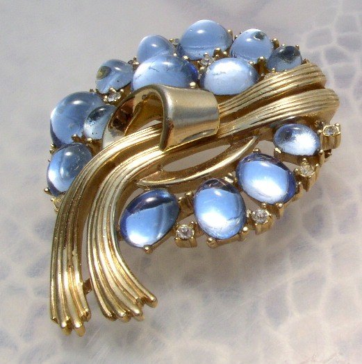 TRIFARI Vintage BLUE Poured GLASS Brooch