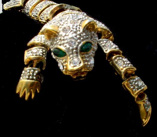 RHINESTONE Articulated CAT Panther Vintage BRACELET