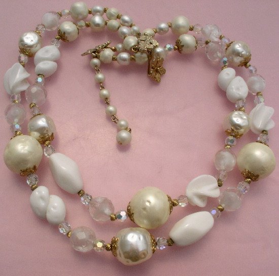 BEAUTIFUL Vintage VENDOME GIVRE Faux BAROQUE PEARL Crystal NECKLACE