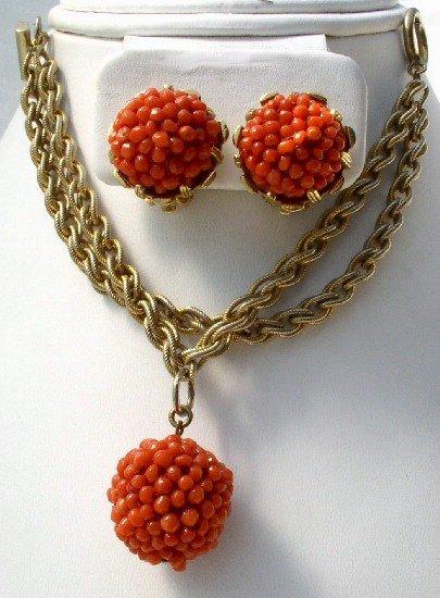 NETTIE ROSENSTEIN Vintage CORAL Bracelet Earrings DEMI