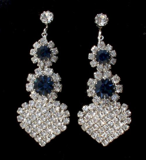 FABULOUS Vintage RHINESTONE DANGLE Drop EARRINGS