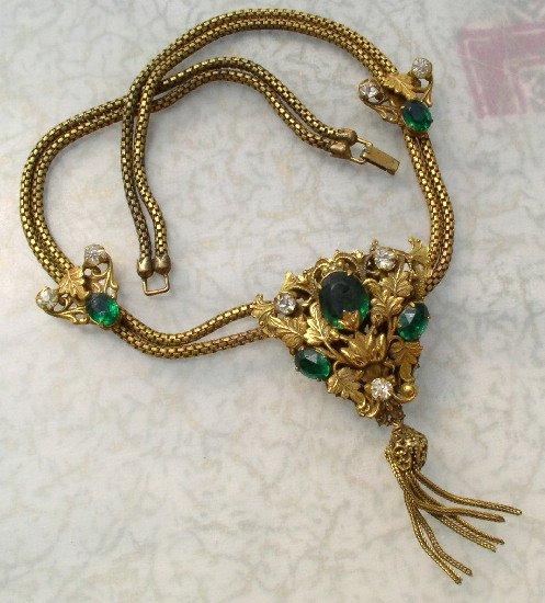 ART NOUVEAU Vintage GREEN RHINESTONE & Brass SLIDE NECKLACE