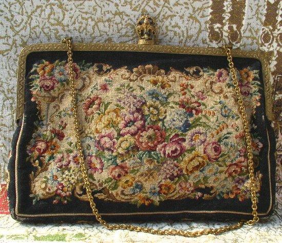 PETIT POINT Vintage FLORAL PURSE Handbag