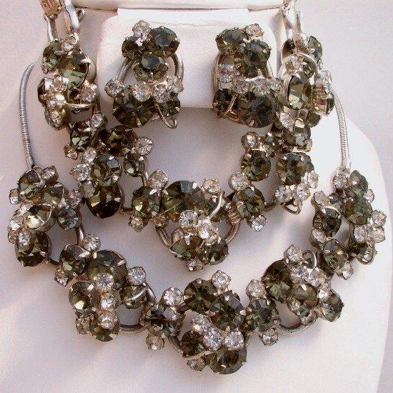 JULIANA Vintage D&E SMOKE Gray RHINESTONE Necklace BRACELET Earrings PARURE