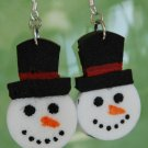 Snowman Wine Cork Earrings