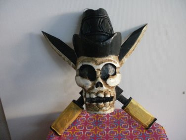 THE WOODEN PIRATE SKULL CARVED MASK SCULPTURE ART HOME DECOR WALL HANGING