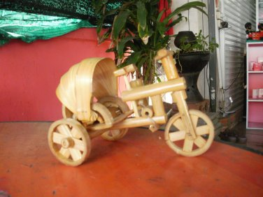 THE BAMBOO MODEL WOODEN THAI TRICYCLE VINTAGE STYLE TAXI COLLECTIBLE