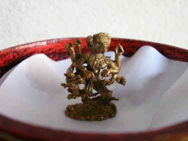 Mini Brass Hindu Hanuman King Monkey Statue Pendant Blessing Great life Good Luck Life Power