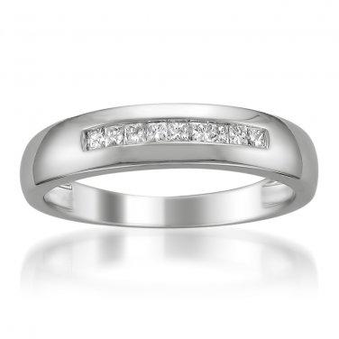 14k White Gold Princess-cut Diamond Men's Wedding Band Ring (1/4 cttw, H-I, SI2-I1)