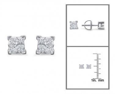14k Gold 1/2 ctw Princess-cut Diamond Invisible-Set Stud Earrings (I-J, I2)