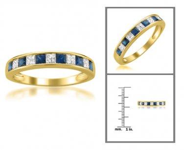 14k Yellow Gold 5/8 ct Princess-cut Diamond & Sapphire Wedding Band (H-I, I1-I2)