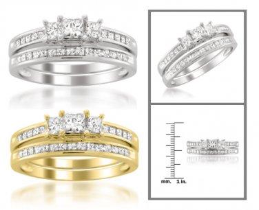 14k White or Yellow Gold 1 ctw Princess-cut 3-Stone Diamond Bridal Set Ring