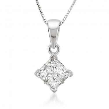 14K Gold 1/2 ct Princess-cut Diamond Invisible-Set Pendant Necklace (H-I, I1-I2)