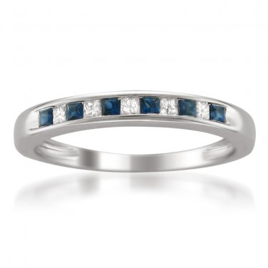 14k White Gold 1/3 ctw Princess-cut Diamond & Sapphire Wedding Band (H-I, I1-I2)