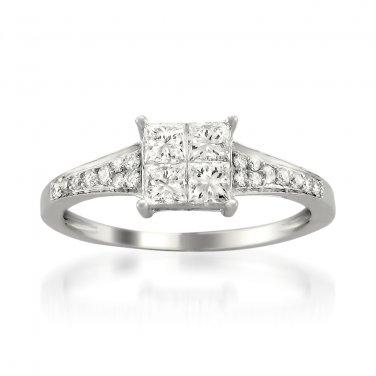 14k White Gold 3/4 ctw Princess-cut & Round Diamond Invisible-Set Engagement Ring