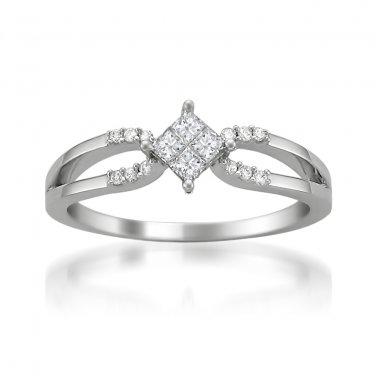 14k White Gold 1/4 ctw Princess-cut & Round Diamond Engagement Ring (H-I, I1-I2)