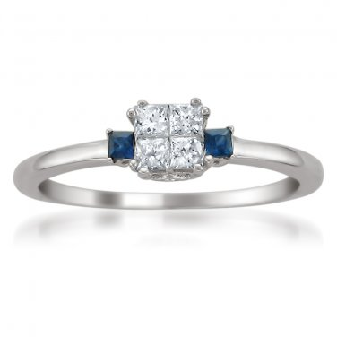 14k White Gold Princess-cut Diamond & Sapphire Engagement Ring (1/4 cttw, G-H, I1-I2)