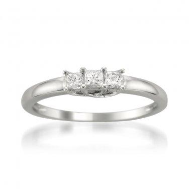 14k White Gold 1/4 ctw Princess-cut 3-Stone Diamond Engagement Ring (H-I, I1)