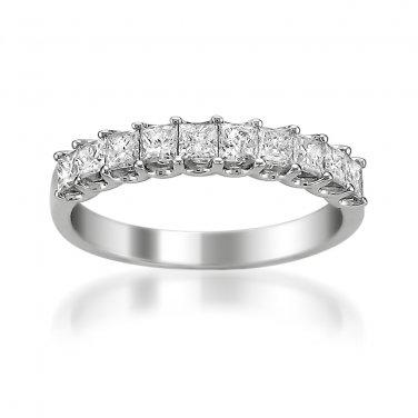 14k White Gold 1 ctw Princess-cut Diamond Bridal Wedding Band Ring (H-I, I1-I2)