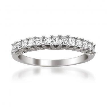 14k White Gold 3/4 ctw Princess-cut Diamond Prong-set Wedding Band (H-I, I1-I2)