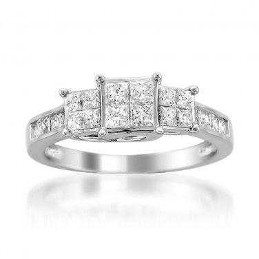 14k White Gold 1 ctw Princess-cut & Round Diamond 3-Stone Engagement Ring (H-I, I1-I2)