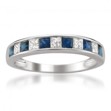 14k White Gold 5/8 ctw Princess-cut Diamond & Sapphire Wedding Band (H-I, I1-I2)