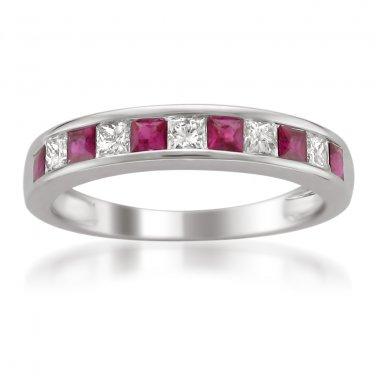 14k White Gold 5/8 ctw Princess-cut Diamond & Ruby Wedding Band (H-I, I1-I2)